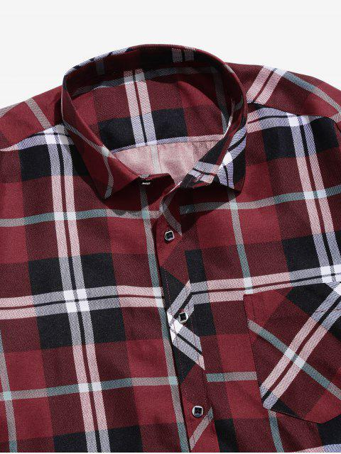 ladies Casual Plaid Print Button Pocket Shirt - RED S Mobile