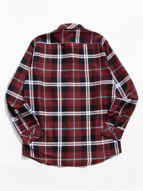 Imprimir Casual Plaid Button bolsillo de la camisa - Rojo L Mobile