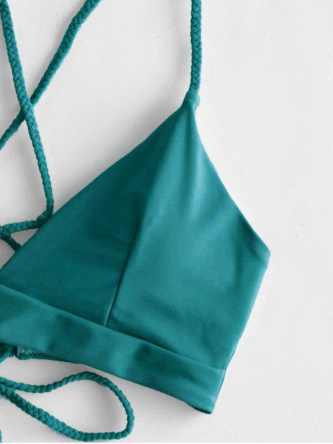 ZAFUL Maillot de Bain Bikini Fleur Tressé à Lacets Trois Pièces - Vert Tortue de Mer M Mobile
