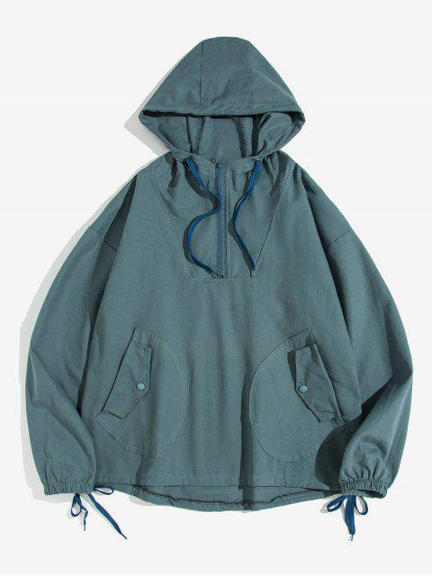 信打印半拉鍊抽繩口袋連帽衫 - 藍色 XL Mobile