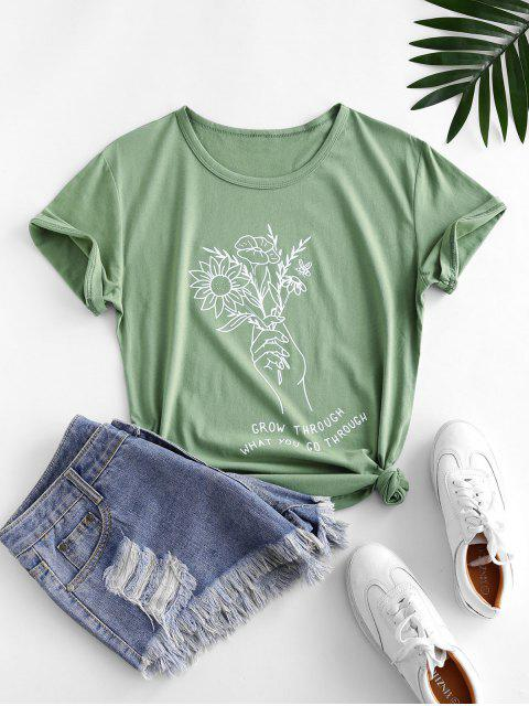 sale Holding Flower Sketch Graphic Short Sleeve Tee - LIGHT GREEN XL Mobile