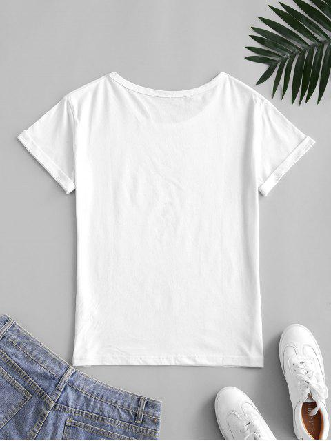lady Holding Flower Sketch Graphic Short Sleeve Tee - WHITE M Mobile