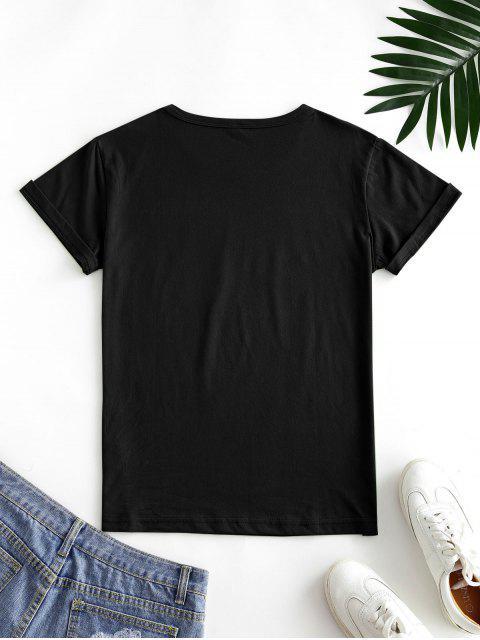 shops Letter Leaf Print Cotton Short Sleeve Tee - BLACK M Mobile