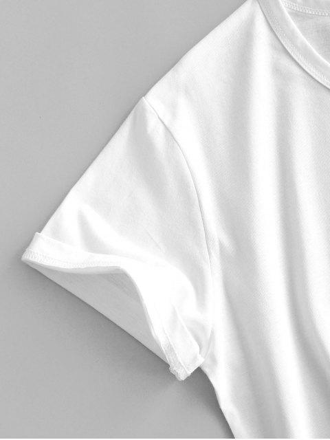 best Holding Flower Sketch Graphic Short Sleeve Tee - WHITE XL Mobile
