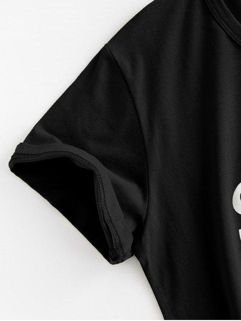 ladies Letter Leaf Print Cotton Short Sleeve Tee - BLACK S Mobile