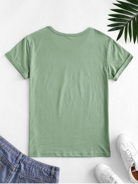 fashion Holding Flower Sketch Graphic Short Sleeve Tee - LIGHT GREEN L Mobile