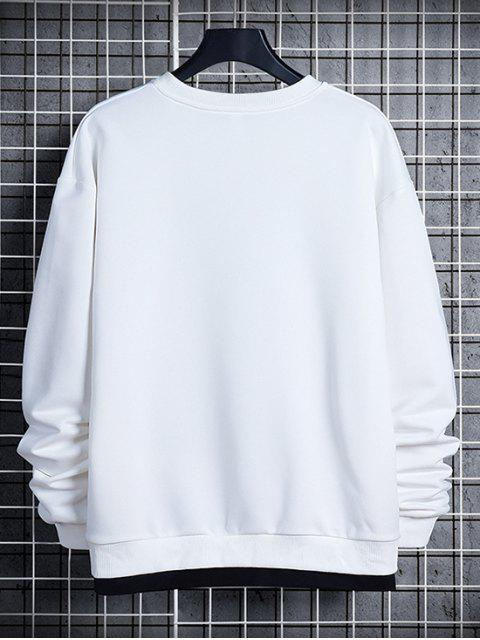 ladies Letter Print Colorblock Splicing Sweatshirt - WHITE XS Mobile