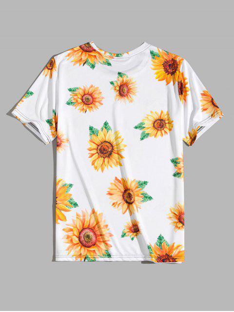 online Short Sleeve Sunflower Print Vacation T-shirt - SUN YELLOW L Mobile