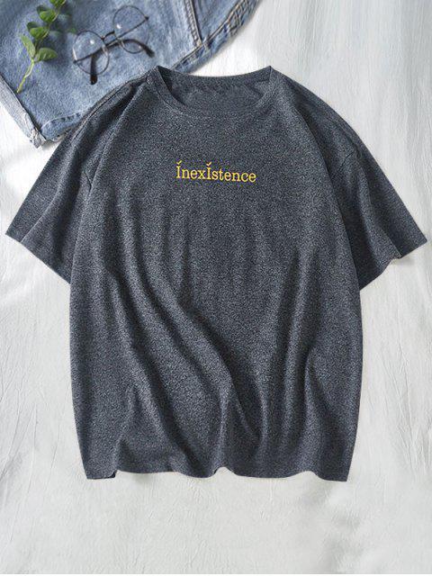 Camiseta de Cuello Redondo con Mangas Cortas con Estampado de Letras - Negro L Mobile