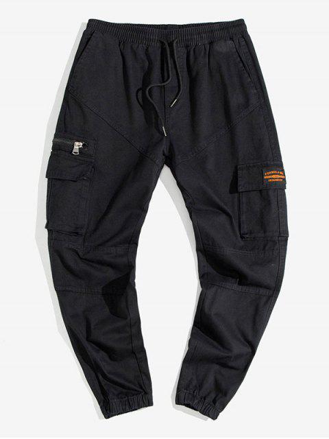 Jogger Pantalones de Cargo de Aplique de Color Sólido - Negro XS Mobile