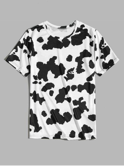 Camiseta de Cuello Redondo con Mangas Cortas con Estampado de Vaca - Negro 4XL Mobile