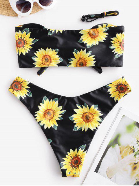 Bikini con Estampado de Girasol con Nudo ZAFUL - Negro L Mobile