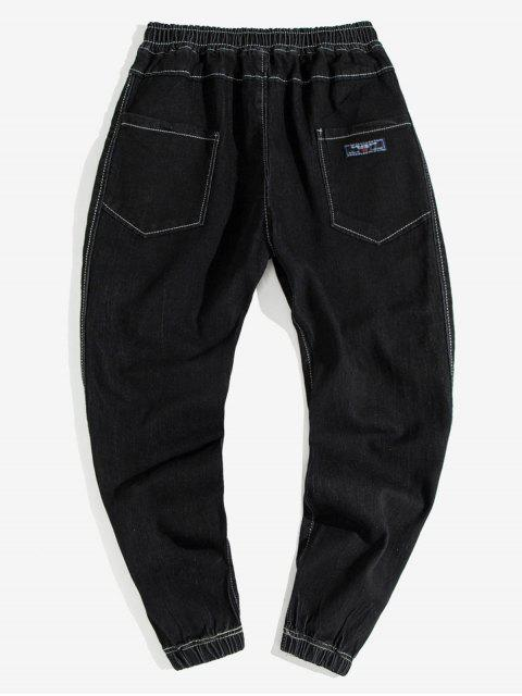 Pantalones Vaqueros Apliques Costuras y Cordones - Negro L Mobile