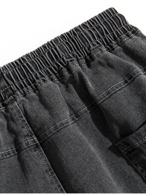 Pantalones Vaqueros Apliques Costuras y Cordones - Gris L Mobile