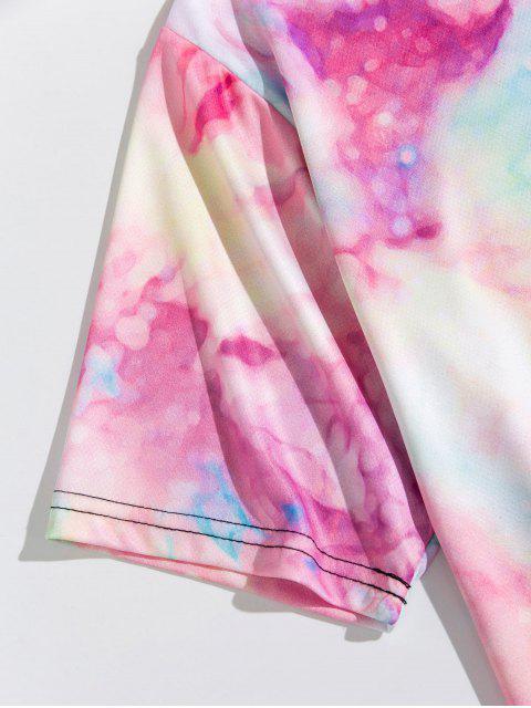 紮染印花短袖T卹 - 豬粉紅色 M Mobile