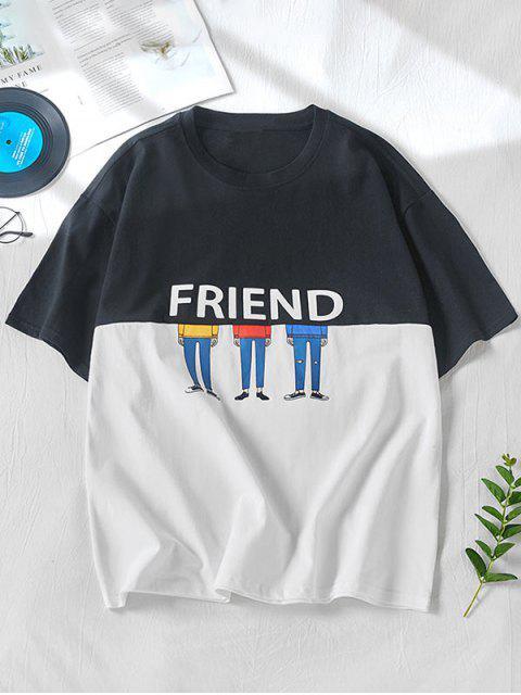 雙色朋友卡通人物打印短袖T卹 - 黑色 L Mobile