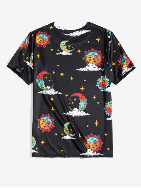 有趣的卡通太陽和月亮的print tee - 黑色 3XL Mobile