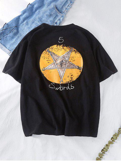 sale Star Graphic Swords Letter Print Short Sleeve Tee - BLACK XL Mobile