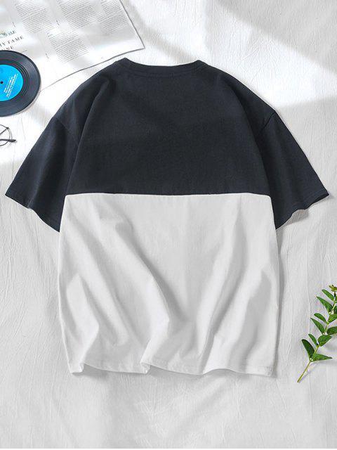 雙色朋友卡通人物打印短袖T卹 - 黑色 2XL Mobile