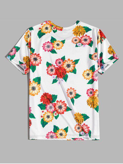 Camiseta deEstampadode Flores de Vacaciones - Blanco M Mobile