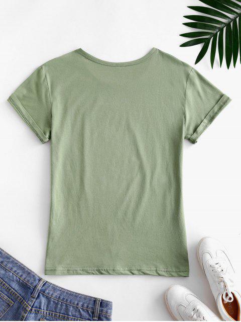 Camiseta con Estampado de Hojas con Mangas Cortas - Verde claro M Mobile