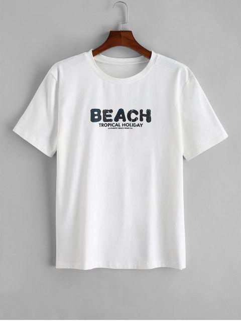 outfits ZAFUL Beach Paradise Palm Tree Print Short Sleeve T-shirt - WHITE L Mobile
