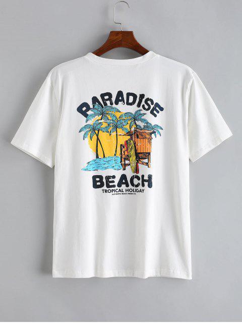 ZAFUL Camiseta de Manga Corta con Estampado de Palma - Blanco XL Mobile