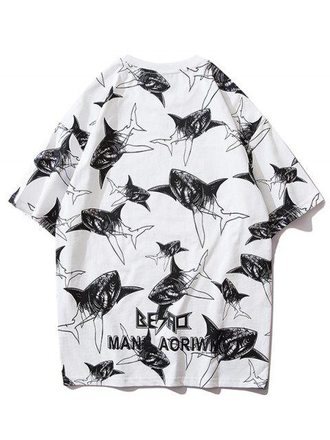 鯊魚印花布信圖形打印短袖T卹 - 白色 L Mobile