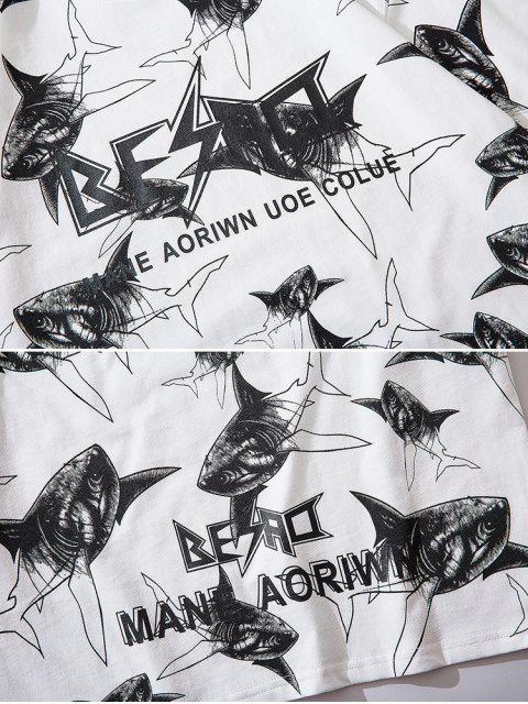 Camiseta de Mangas Cortas con Estampado de Letras de Tiburón - Blanco XL Mobile