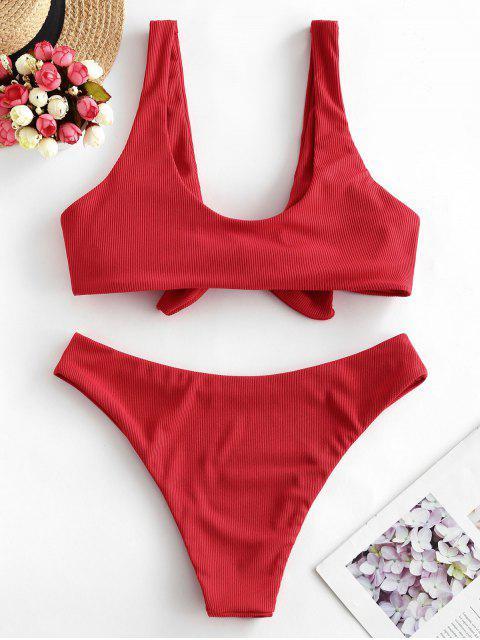ZAFUL Bikini Acanalado con Lazo - Rojo Lava L Mobile