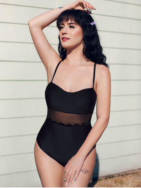 chic ZAFUL Scalloped Mesh Panel High Cut One-piece Swimsuit - BLACK S Mobile