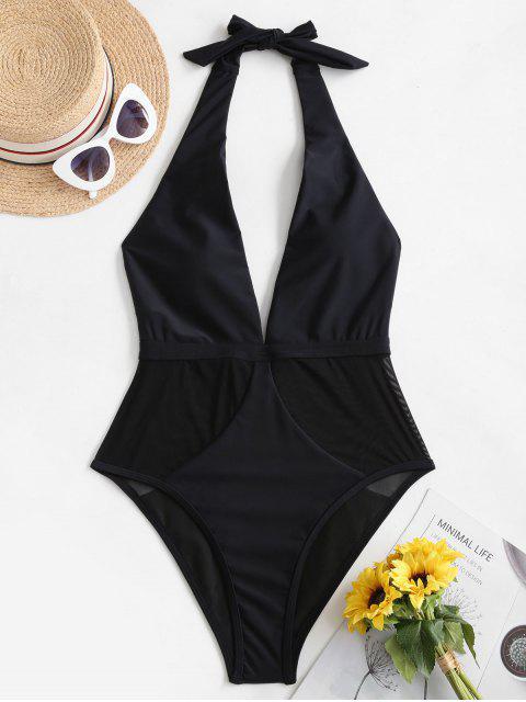 new ZAFUL Mesh Panel Halter One-piece Swimsuit - BLACK M Mobile