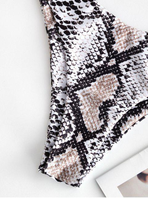 latest ZAFUL Animal Print Frilled Tie Bandeau Bikini Swimsuit - MULTI-B M Mobile