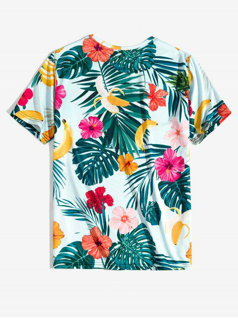online Tropical Flower Leaf Banana Print Vacation T-shirt - BABY BLUE 2XL Mobile