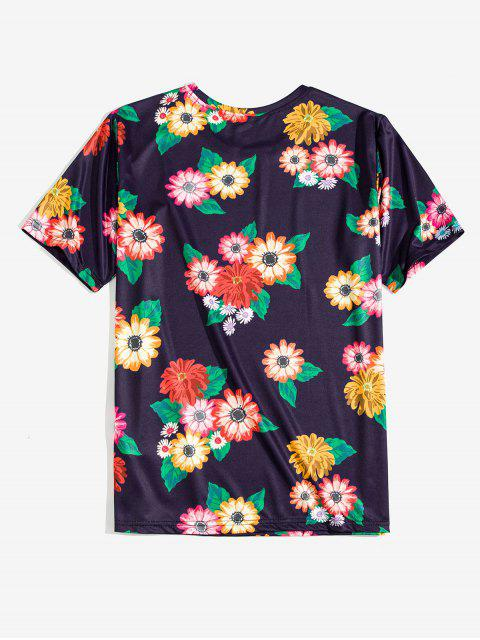 chic Flower Allover Print Vacation T-shirt - MIDNIGHT BLUE L Mobile