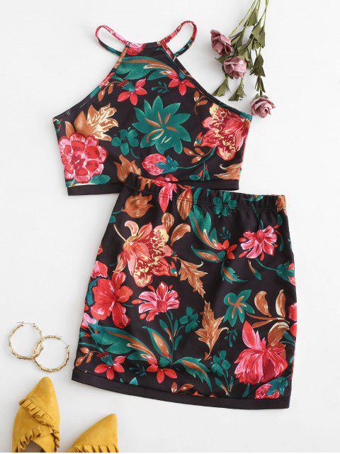 womens Floral Print Asymmetric Two Piece Suit - BLACK S Mobile