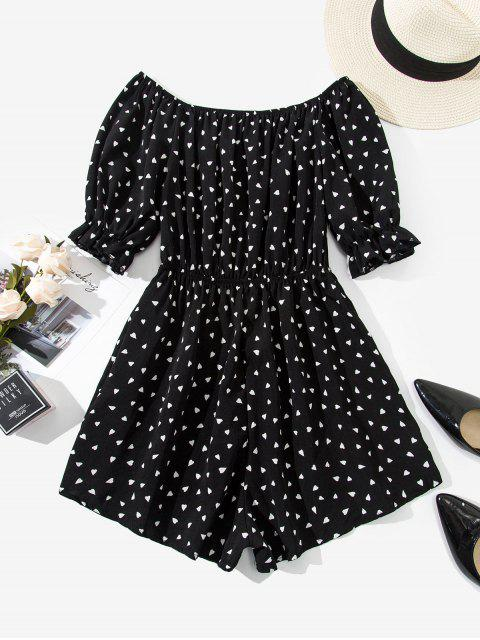 outfits Off Shoulder Valentine Heart Print Romper - BLACK L Mobile