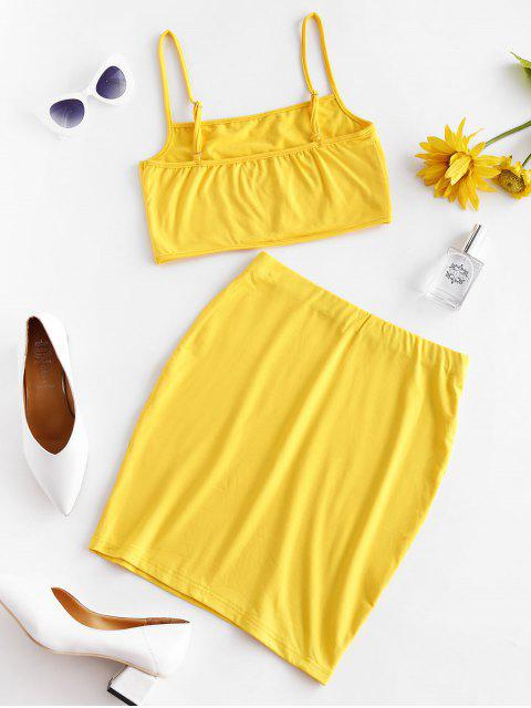 lady Solid Color Bodycon Two Piece Suit - YELLOW L Mobile