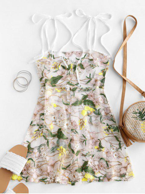 latest Floral Embroidered Mesh Mini Cami Dress - MULTI-A S Mobile