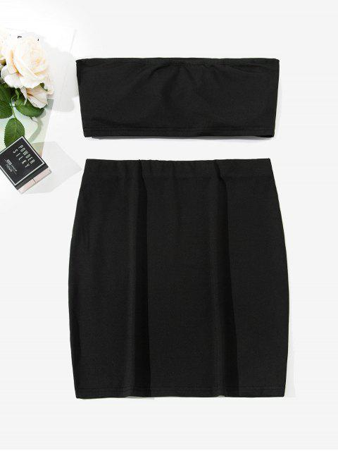 womens ZAFUL Two Piece Padded Bandeau Top And Skirt Set - BLACK L Mobile