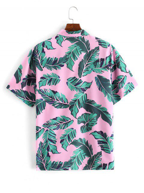 affordable Casual Leaf Pattern Button Short Sleeves Shirt - PINK 2XL Mobile