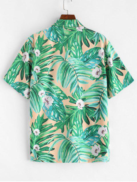 best Leaf Floral Printed Short Sleeves Shirt - CLOVER GREEN M Mobile