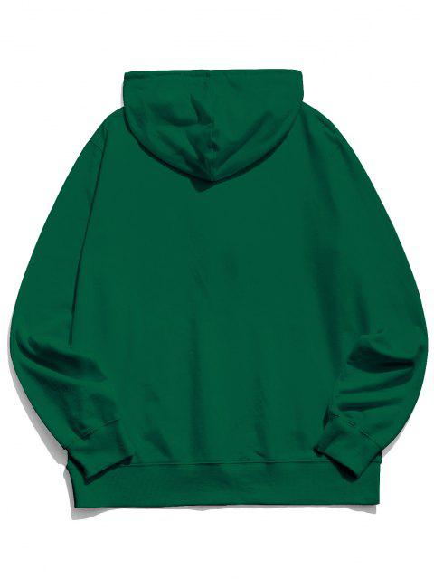 unique Finger Heart Graphic Pouch Pocket Casual Hoodie - JUNGLE GREEN 2XL Mobile