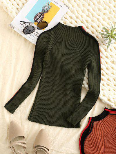 Ribbed Side Colorblock Mock Neck Sweater - Deep Green