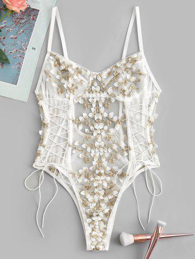 Lace Up Floral Applique Sheer Mesh Lingerie Teddy - White M