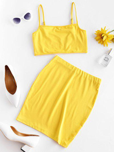 Solid Color Bodycon Two Piece Suit - Yellow L