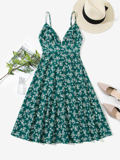 ZAFUL Smocked Back Ditsy Floral Cami Dress - Sea Turtle Green M