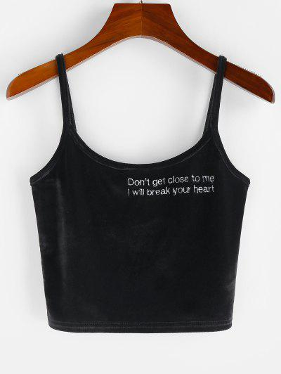 Letter Embroidered Crop Cami Top - Black S