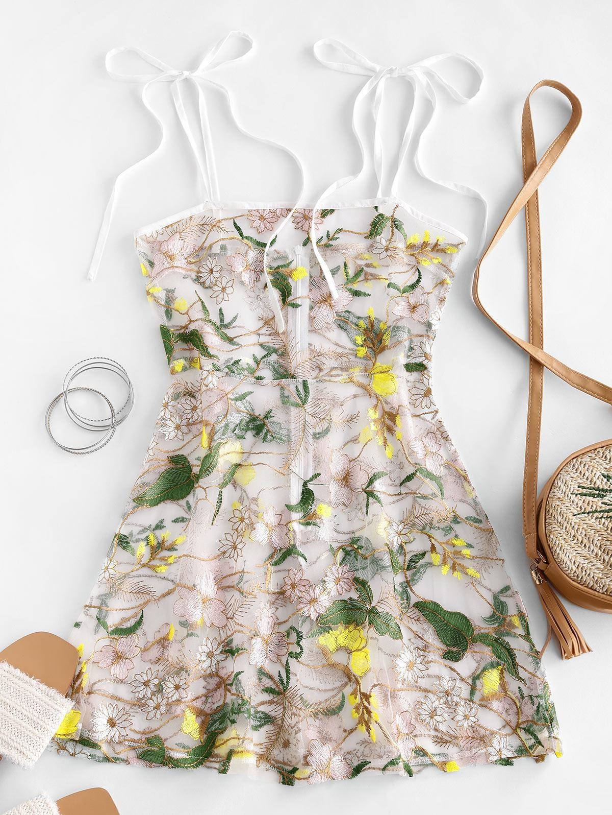 Floral Embroidered Mesh Mini Cami Dress