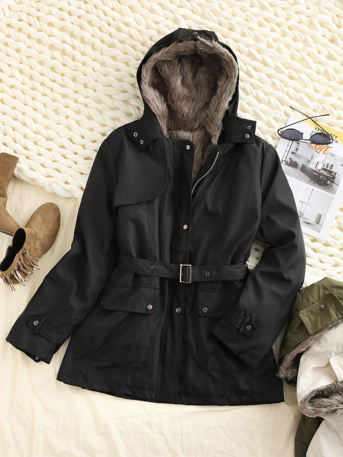 Hooded Removable Two Way Faux Fur Belted Parka Coat